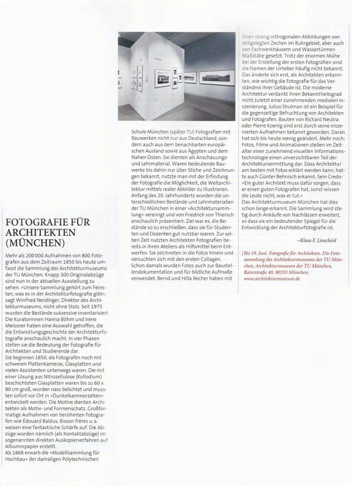 Fotografie für Architekten, Ausstellung im Architekturmuseum München