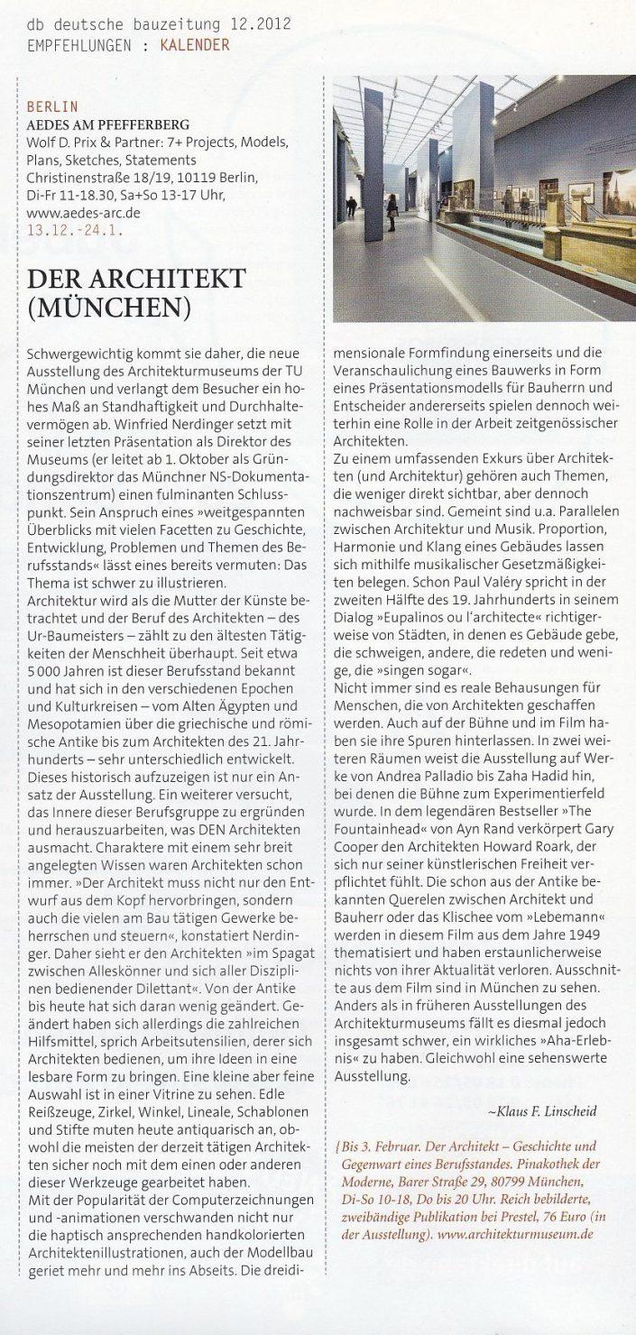"""""""Der Architekt"""". Ausstellung im Architekturmuseum München"""